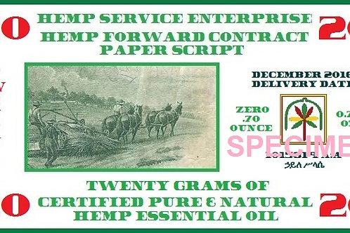 Hemp Essential Oil Forward Contract 2016 - 20g