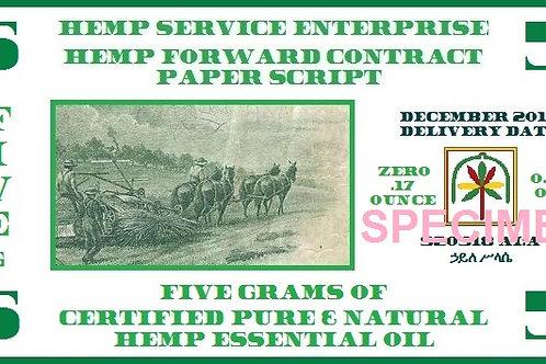 Hemp Essential Oil Forward Contract 2016 - 5g