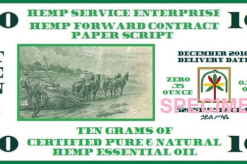 Hemp Essential Oil Forward Contract 2016 - 10g
