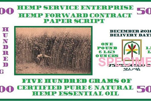 Hemp Essential Oil Forward Contract 2016 - 500g