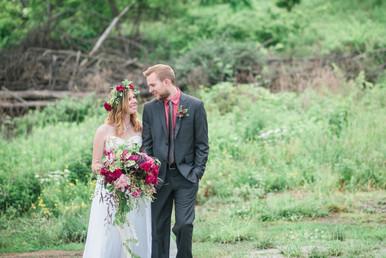 Summer Garden Wedding Bouquet and Crown