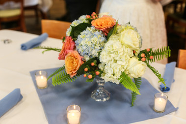 Coral and blue centerpiece