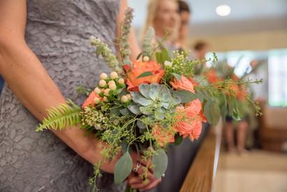 Coral Bridesmaid bouquets