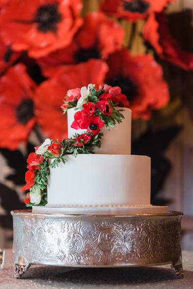 Red anemone cake flower cascade