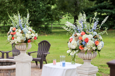 Coral and blue ceremony urns