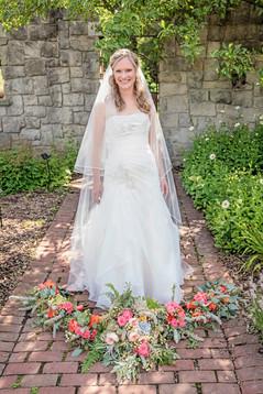 Coral flower wedding bouquets