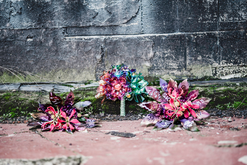 Close Up of Plastic Flower and Graffiti Bouquets