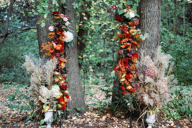 Fall BoHo Ceremony Flowers