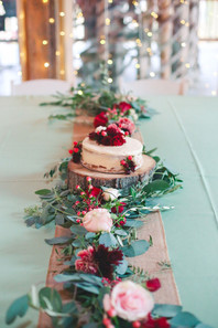 Eucalyptus and Olive garland with Roses