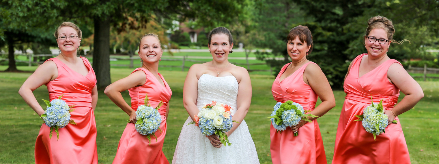 Coral and blue bouquets