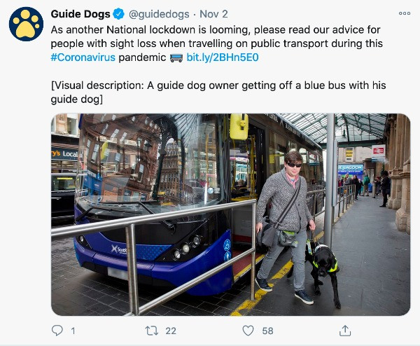 Screenshot of a Guide Dogs tweet, demonstrating their use of visual description text.