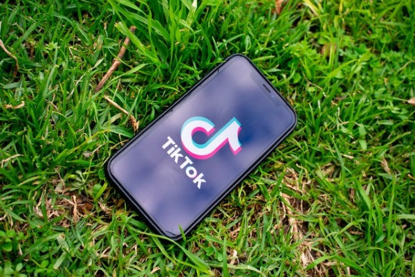 Mobile phone in grass with the TikTok logo