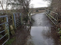 approach to bridge from Mill Lane