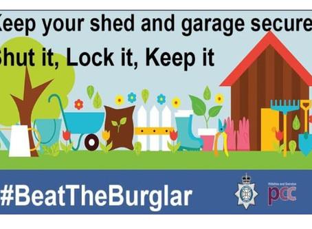 Check sheds and garages - reminder