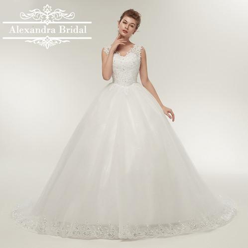 Long Train Princess Ball Gown Wedding Dress