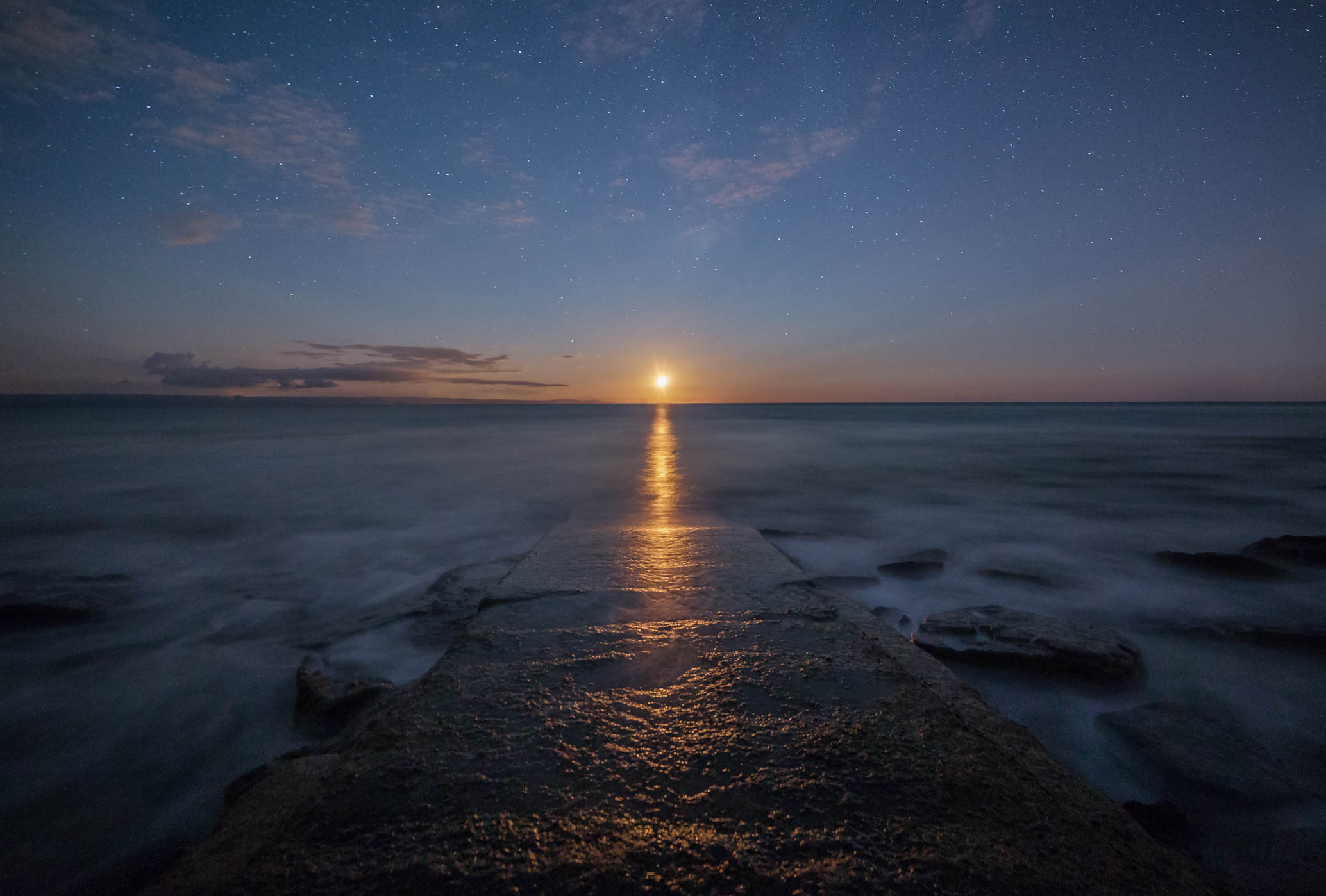 Moonset Over Dunraven Bay