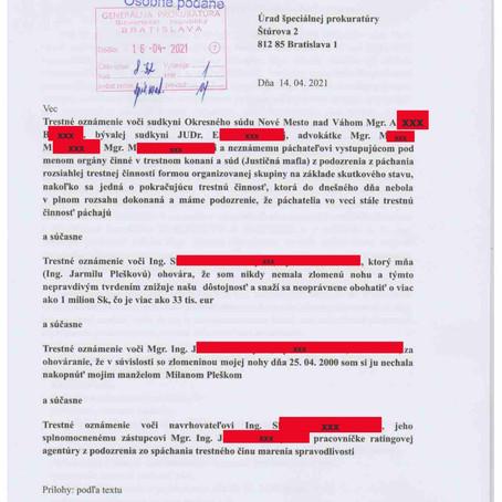 Trestné oznámenie na  Úrad špeciálnej prokuratúry SR z 14.04.2021