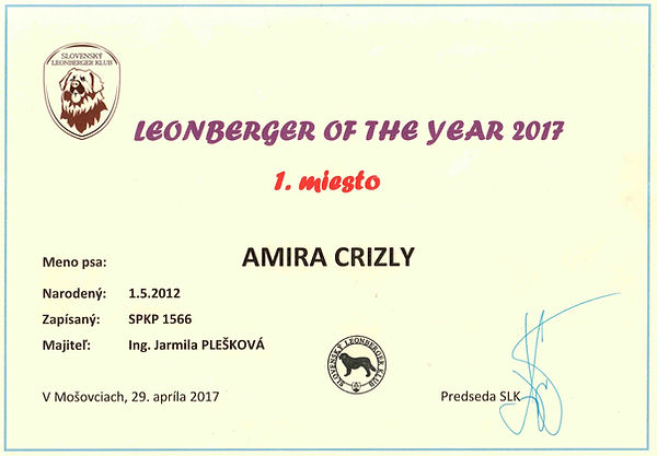 LEONBERGER OF THE YEAR 2017 _  1_ miesto