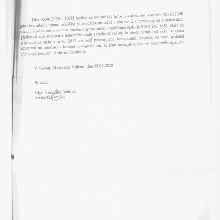 Úradný záznam o telefonáte z Ústavného súdu