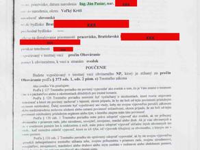 Zápisnica o výsluchu svedka Ing. Ján Pasiar