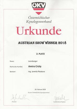 Urkunde _ 2_  PLATZ  Austrian Show Winne