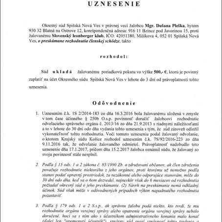 Slovenskému Leonberger Klubu boli uložené poriadkové pokuty v celkovej výške 2500€!