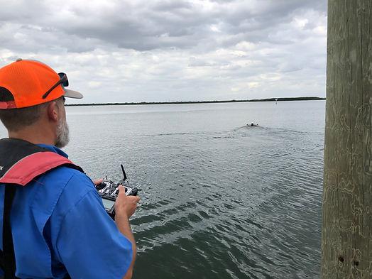 USV Operator controls craft for Hydrographic Survey