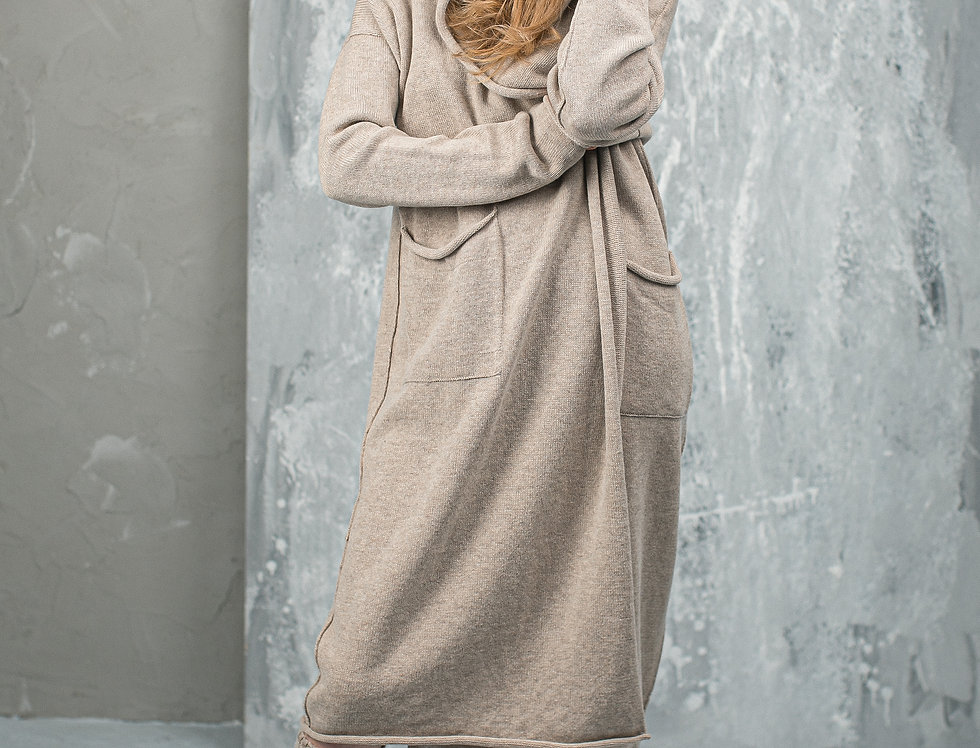 Pure Cashmere Hooded Long Cardigan with Pockets
