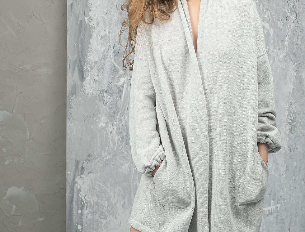Cardigan with Pockets – Oversized Sweater from Cashmere and Wool