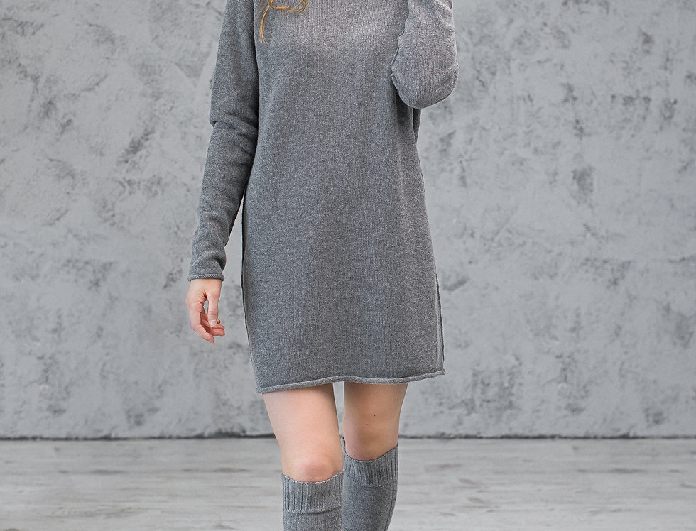 Wool and Cashmere Winter Office Dress –  Knit Sweater Dress