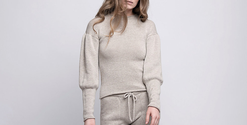 Wool and Cashmere Knitted Short Sweater