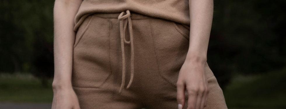 Cashmere Knit Shorts - Yoga shorts with pockets, Night wear