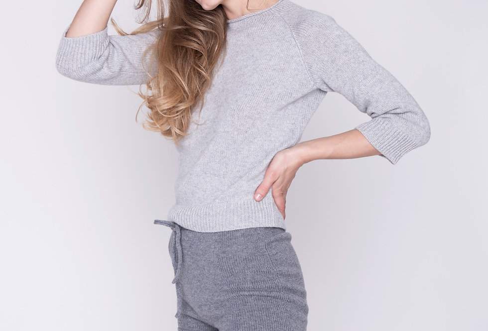 Pure Cashmere Knitted Short Sweater