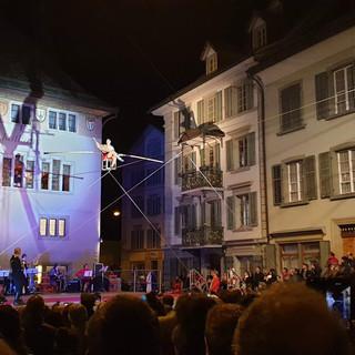 Historische Show auf dem Hochseil, Freddy Nock, 100 Jahre Circus Kniee