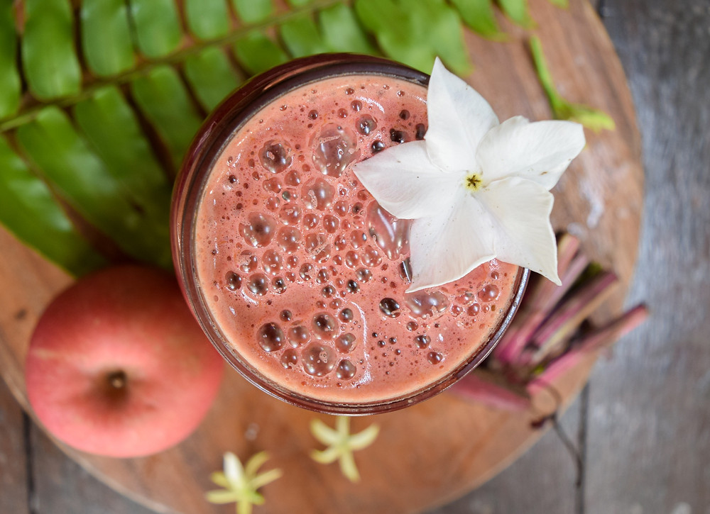 Juices are great to detox the body, gain nutrients/calories without activating the digestive system, and they keep you feeling healthy and happy! This sweet apple and beet juice is loaded with additional veggies like carrot, cucumber, and fresh herbs. The vibrant color shouts vitality and nutrition!