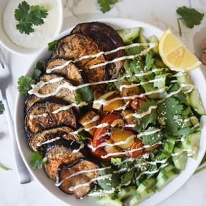 Vegan Sabich Salad with Tahini Dressing