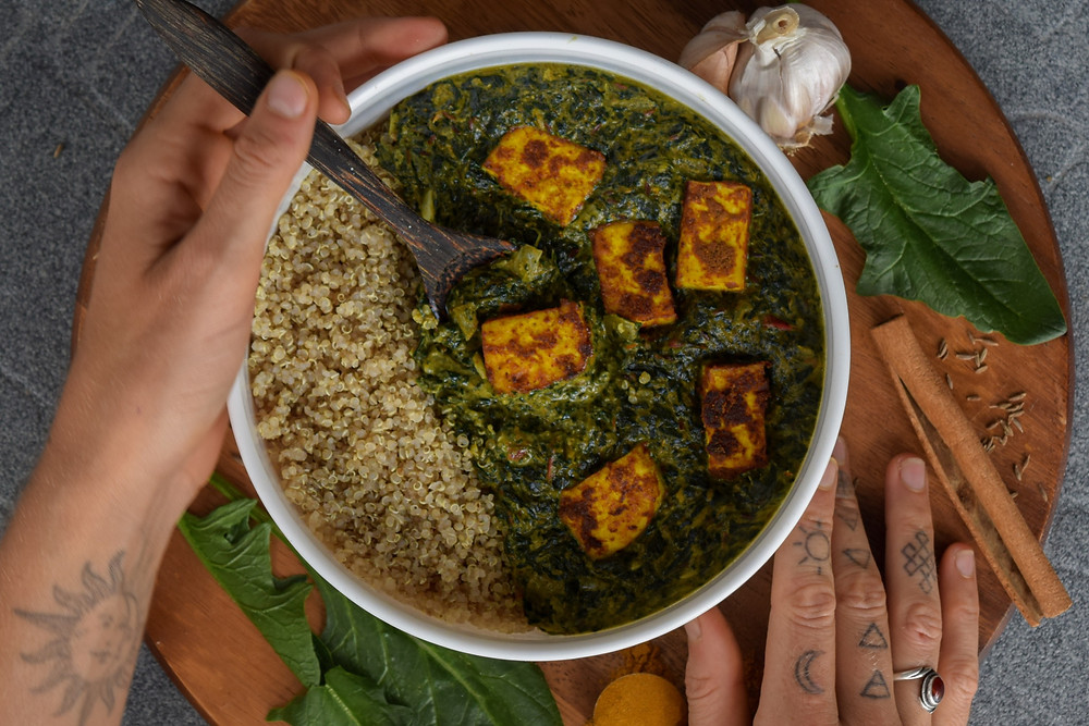 This vegan Indian dish is full of flavor - and nutrition! In northern India, saag refers to spinach. You might also recognize the dish by its Hindi name, palak. This dish is simple to make, uses wholesome ingredients, and it loaded with health benefits from the greens and spices! It's filling, satisfying, and delicious! This plant-based meal brings authentic Indian flavor into your home kitchen!