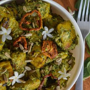 Pumpkin Gnocchi with Avocado Pesto Sauce