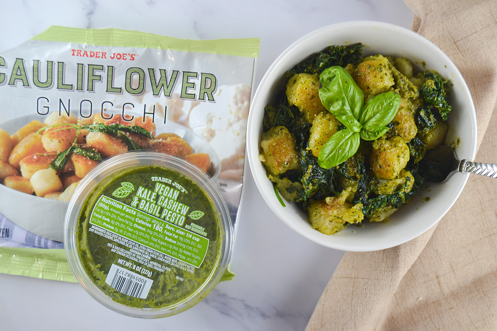 Looking for a quick and easy meal idea that's healthy, pre-prepared, and filling? I don't often encourage packaged foods, but these frozen cauliflower gnocchi from Trader Joe's have minimal ingredients, are vegan, and only take minutes to cook. Top it off with some pesto (Trader Joe's Kale and Cashew) or make your own (recipe in Quest For Zest: Thailand). You can add a few fresh ingredients to the dish to make it even more nutritious!