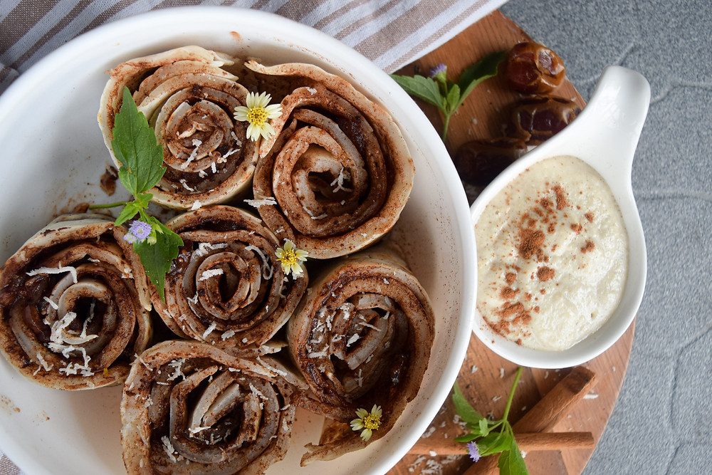What's for breakfast? Cinnamon rolls... crepes...? How about both! Turn simple and easy, plant-based, gluten-free crepes into cinnamon rolls! No baking needed! This sweet breakfast treat is sure to turn your morning into a special occasion! It's sweet, satisfying, and a health(ier) alternative to your store bought brands. Don't say I didn't warn you that these cinnamon rolls are dangerously easy to make and oh-my! good!