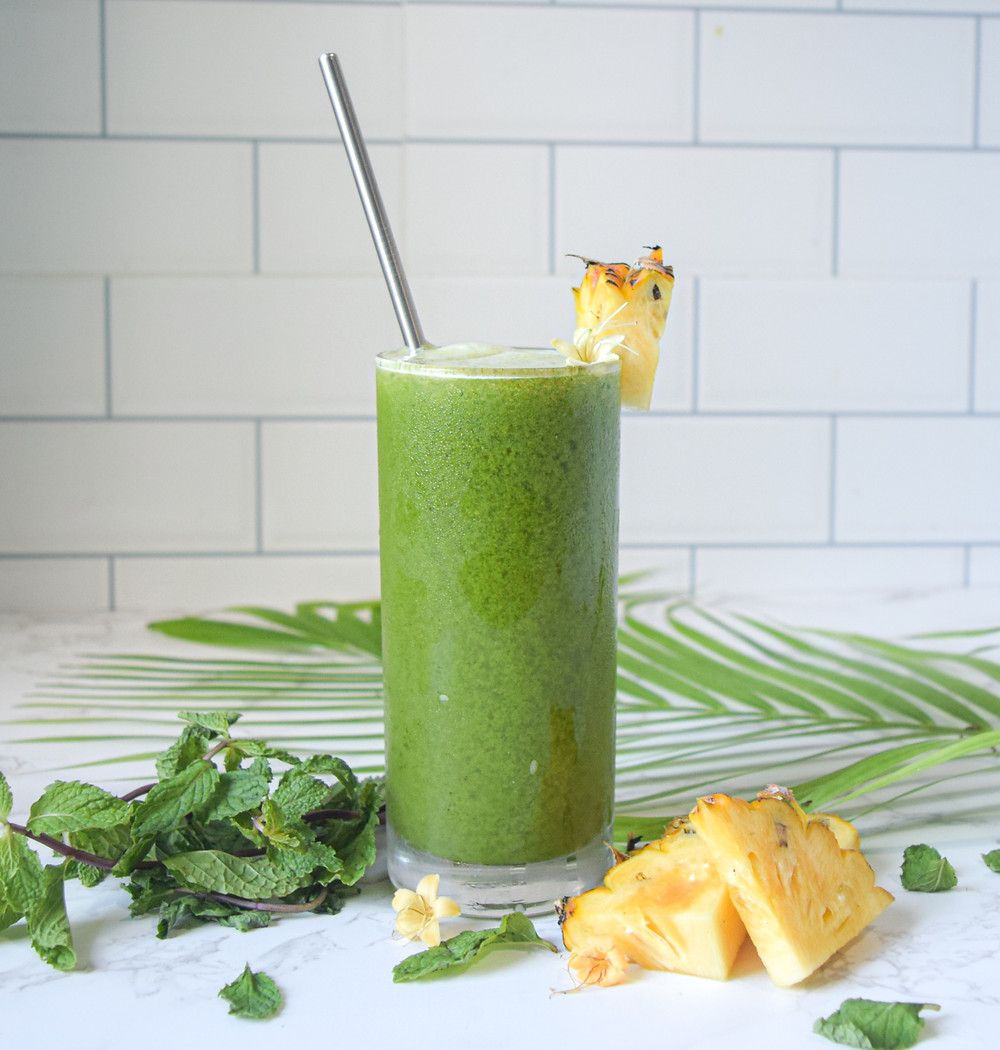 Green juice with a tropical pineapple & mint twist! It's healthy, detoxing, and oh-so-delicious! Try this fresh and fruity green juice for a powerful punch of nutrients. This juice supports a healthy diet and lifestyle. It's naturally sweet and refreshing - sip it with a smile!
