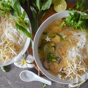 Rice Noodle & Fresh Herb Miso Soup