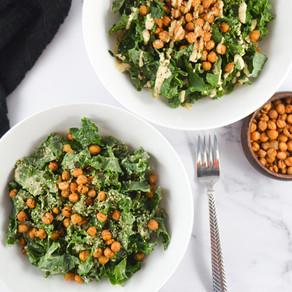 Roasted Chickpea Kale Caesar Salad
