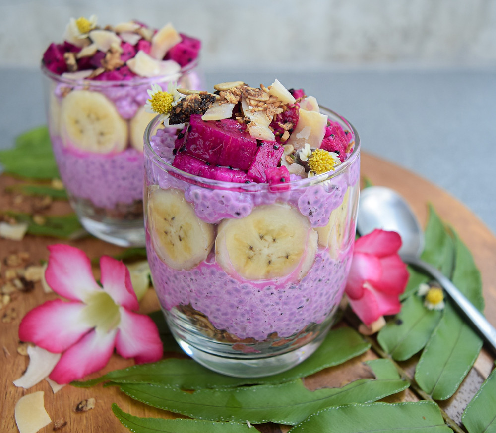 Healthy, easy, grab-and-go breakfast. Pre-soak the seeds the night before and top with fresh fruit or coconut shreds in the morning. Simple ingredient list, plant-based, and delicious! The vibrant pink color captivates even the pickiest of eaters - of all ages! Grab a spoon...