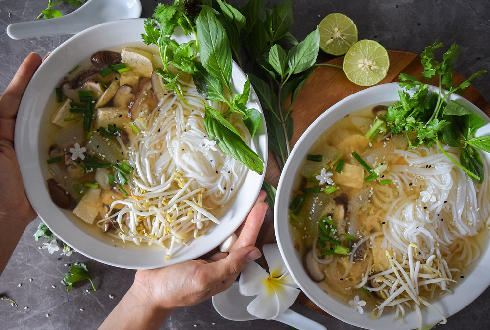 This miso soup recipe is served with rice noodles, veggies and fresh herbs. It's a vegan, gluten-free meal that will leave you feeling full and satisfied. It's packed full of nutrient dense foods to help optimize your health and boost immunity. It's your loved miso soup taken to the next level!