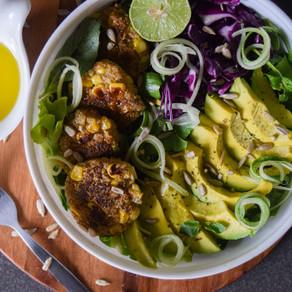 Quinoa & Corn Fritter Salad