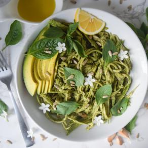 Avocado-Pesto, Cucumber Noodles