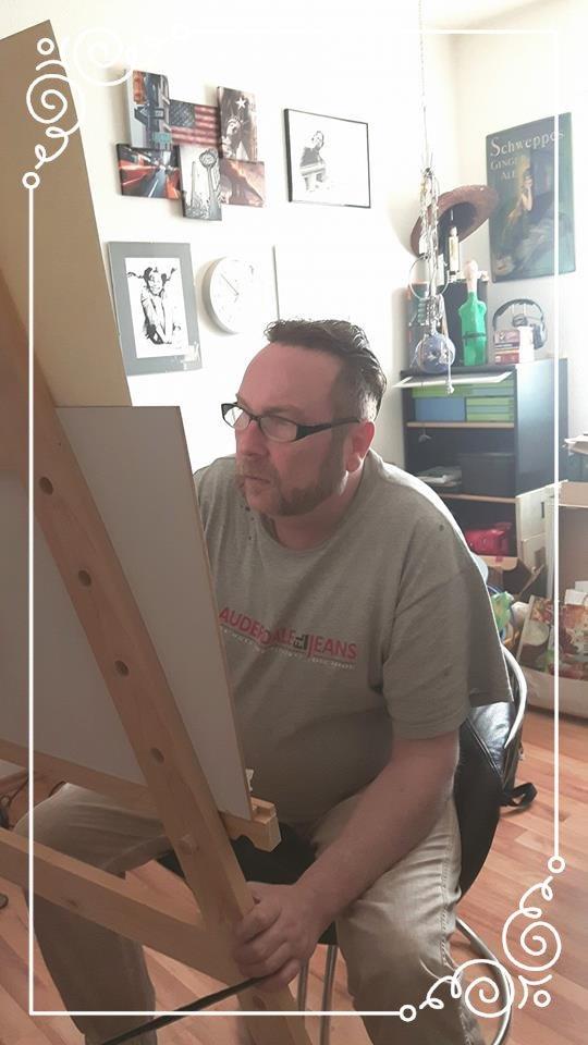 Der Maler bei der Arbeit