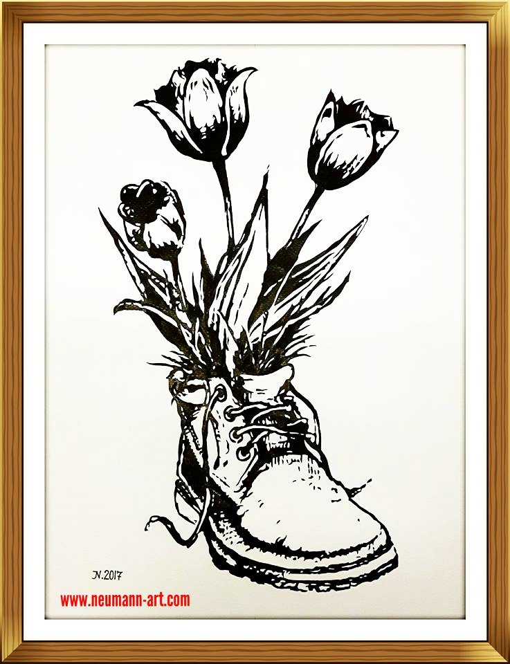 Tulpen im Schuh