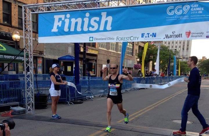 Ben C winning the half marathon at Gay Games 9